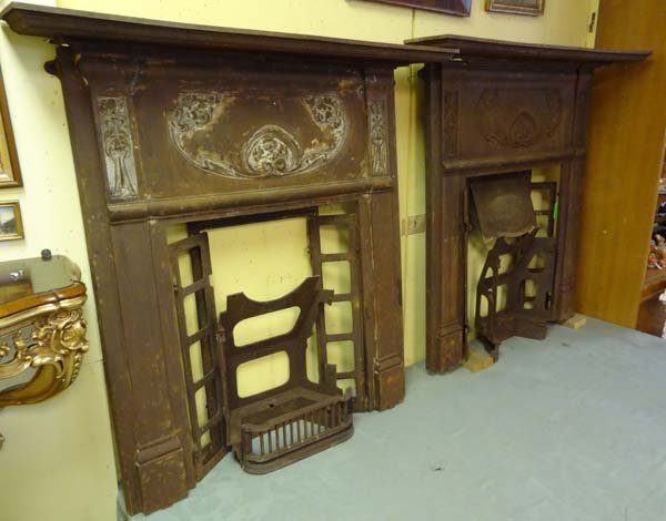2 x Art Nouveau cast iron fireplace with flower head an