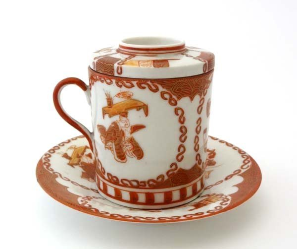 """Kutani : A signed saucer, cup and cover. Saucer 4 7/16"""""""