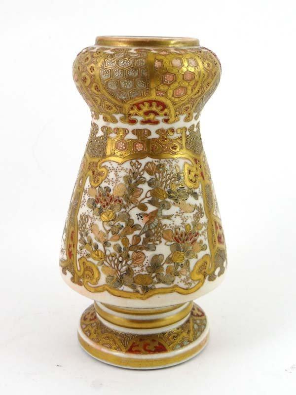 A 19thC Satsuma vase having globular neck above a