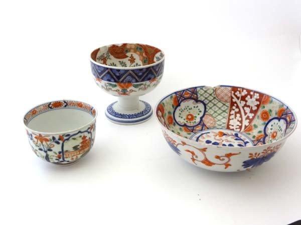 Imari : Three items to include a rice bowl, pedestal