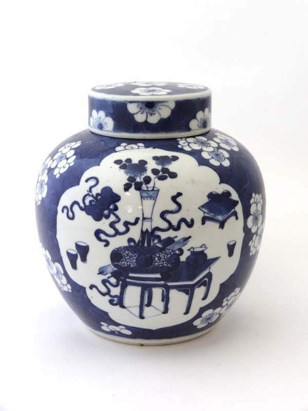 A Chinese porcelain blue and white decorated ginger jar