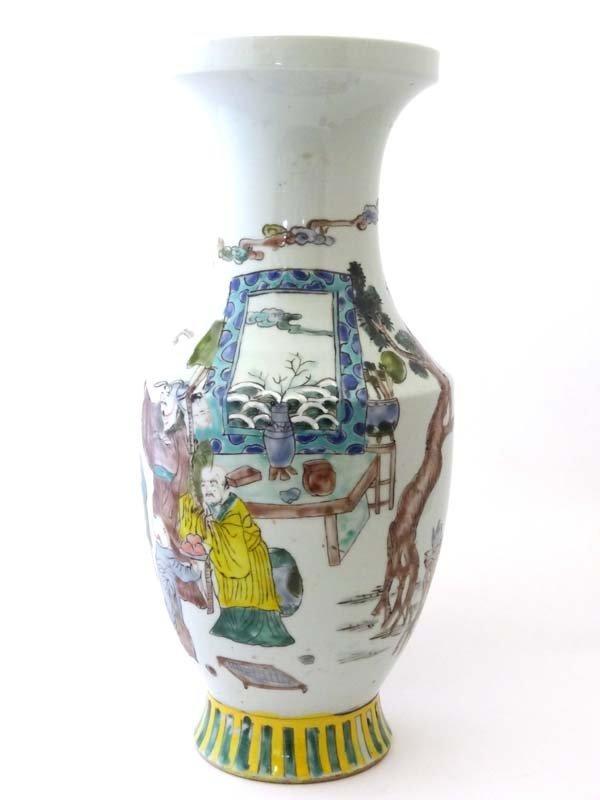 Kang Shi mark : a Famille Vert baluster shaped vase