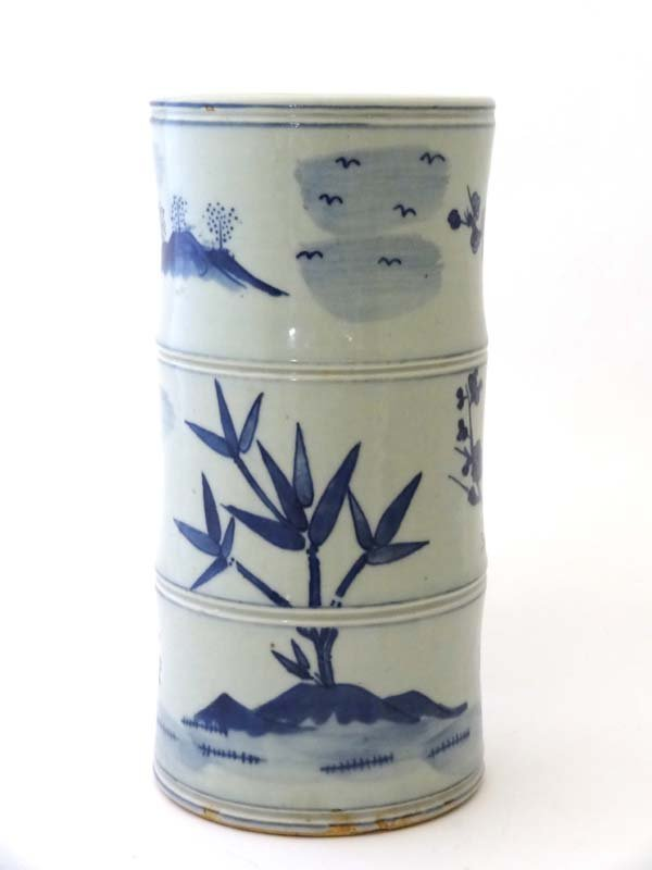 Chinese : A blue and white faux bamboo 6 character mark