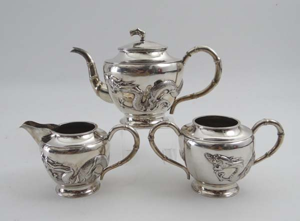 Chinese Export Silver : A Chinese Export silver 3-piece