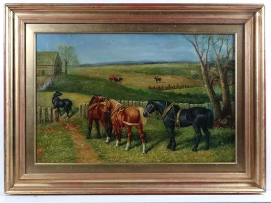 T W Fowell XX Oil on canvas ' Out to Pasture '  Signed.