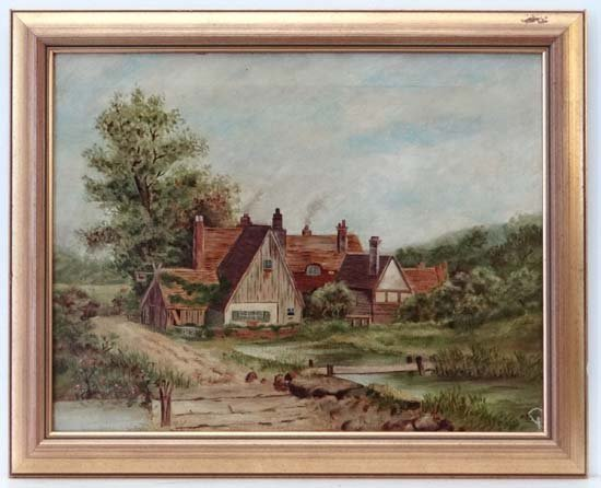 A Lees XIX - XX Oil on canvas Mill cottage by stream