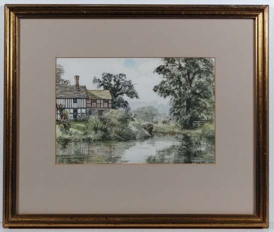 Cynthia Waterman '85 Watercolour Mill pond, sheep and