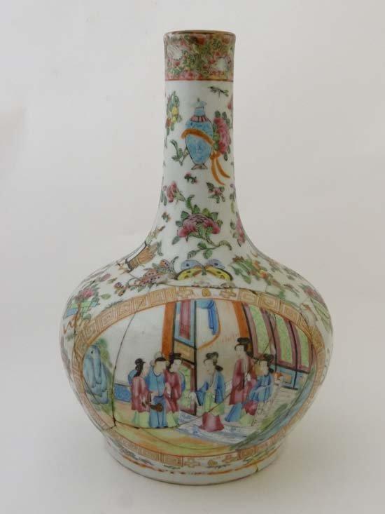 A Cantonese vase of globular onion shape with tall