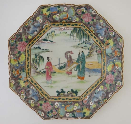 A large Oriental Charger of octagonal shape decorated