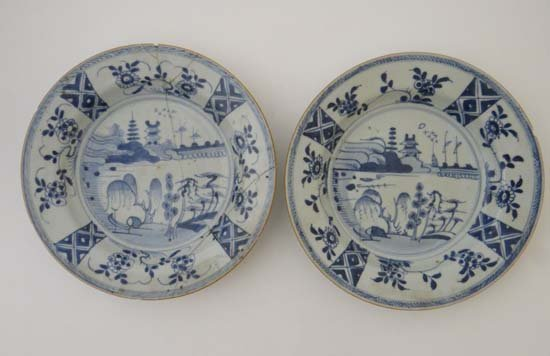 A pair of blue and white Chinese plates painted with