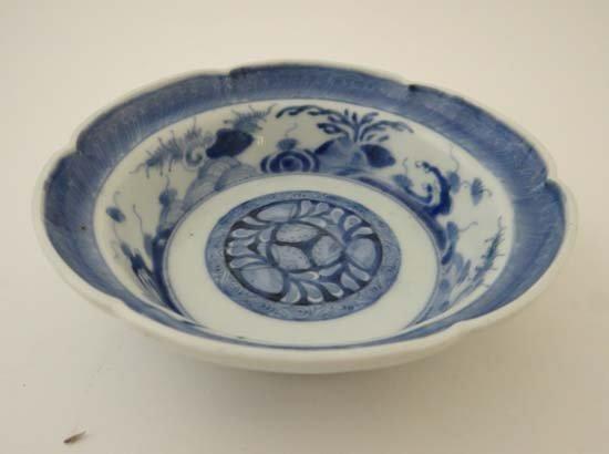 A Chinese blue and white decorated ceramic bowl,