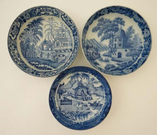 A collection of 3 early 19thC blue and white transfer