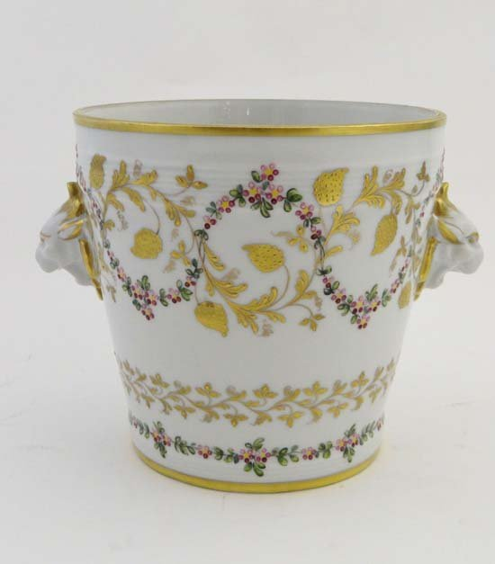 A Tiffany and Co. style ceramic ice bucket hand painted