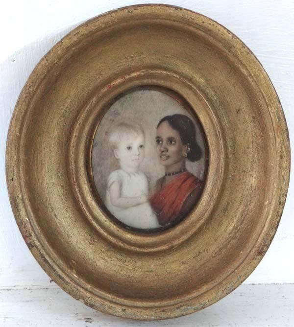 MJ XIX British  Raj School Miniature on Ivory oval Very