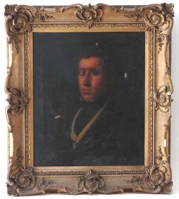Late Georgian School Oil on canvas Portrait of a young