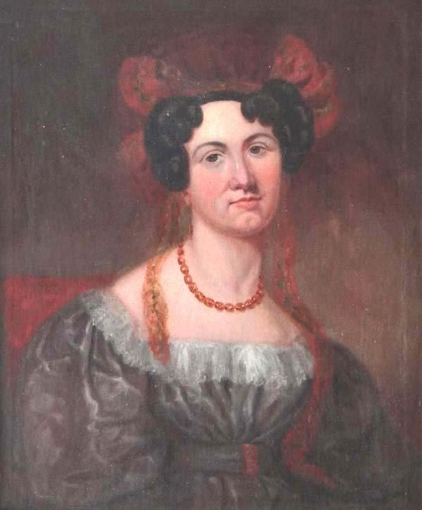 ' LKB '  Early XIX Oil on canvas Portrait head and shou