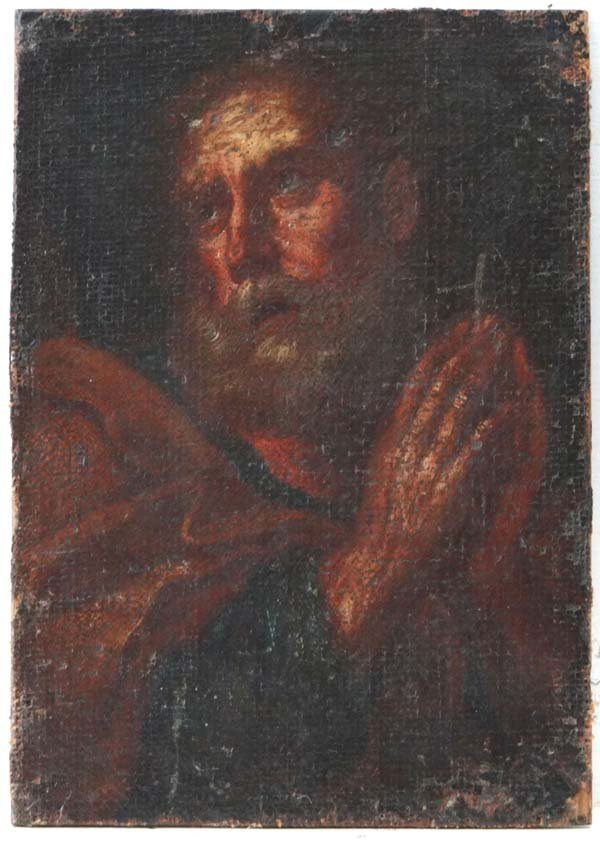 XVII School Oil on canvas laid on panel A disciple 8 1/