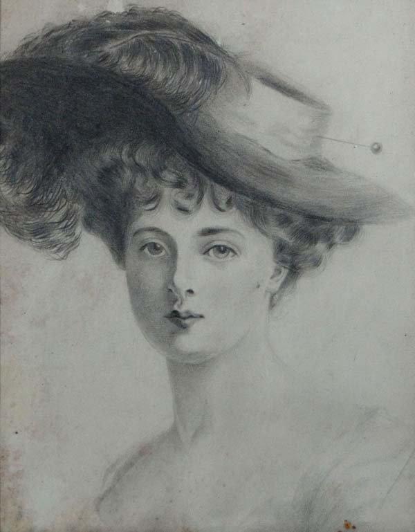 Edwardian School Pencil drawing An Edwardian lady weari
