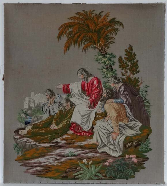 19thC Woolwork: a large needlework picture of Jesus and