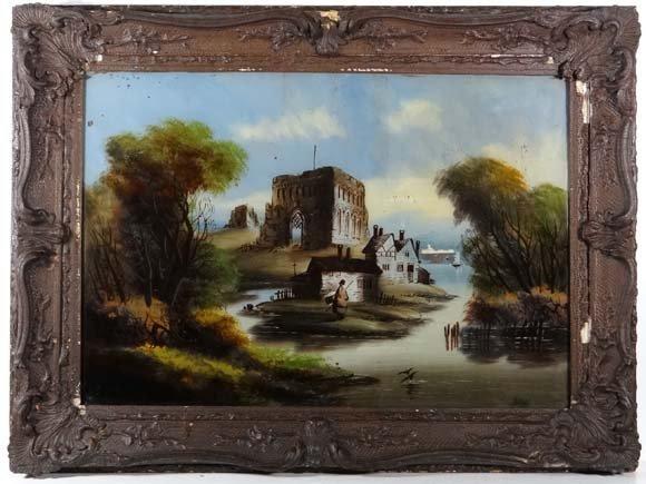 19thC Reverse Glass : a Romantic School painting depict