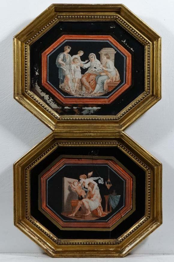 Manner of Angelica Kauffman A pair of Regency coloured