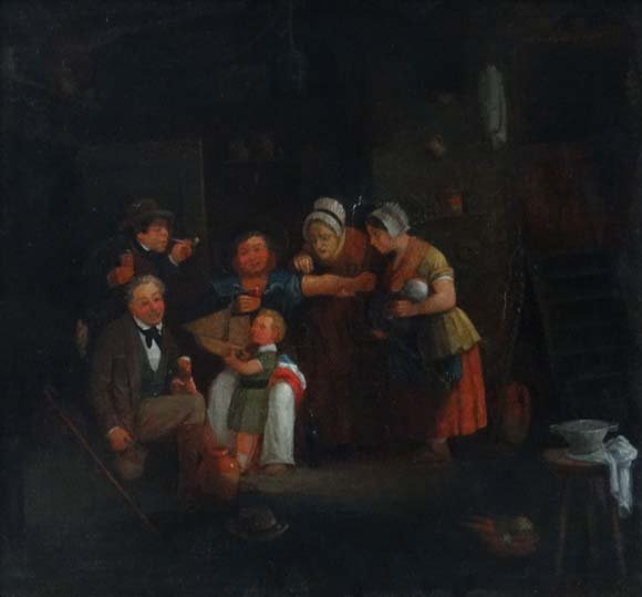 Indistinctly Signed XIX English School Oil on canvas A