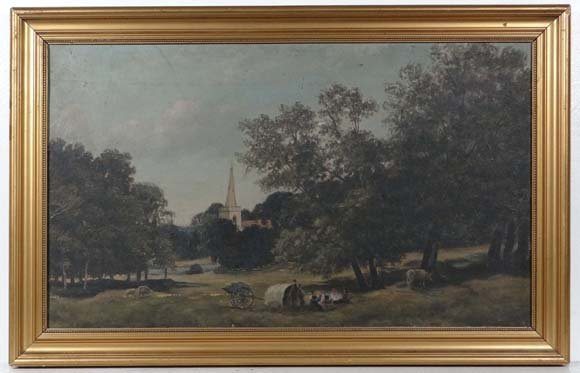 Indistinctly Signed XIX-XX  English School  Oil on canv