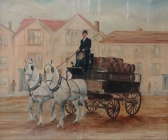 M Welander Early -mid XX Folk Art  Oil on canvas board