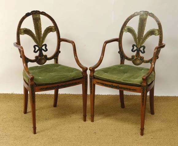 A pair of Georgian painted satinwood Hepplewhite open a
