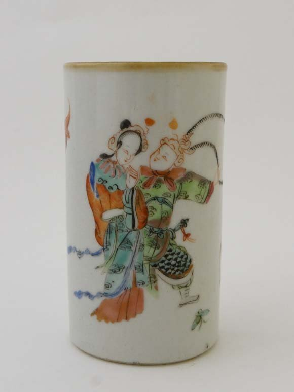 A Chinese porcelain brush pot of cylindrical form decor