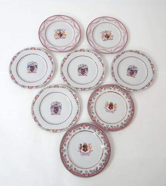 A collection of 8 Chinese Armorial plates each with var