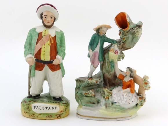 A Victorian Staffordshire pottery titled figure of Fals