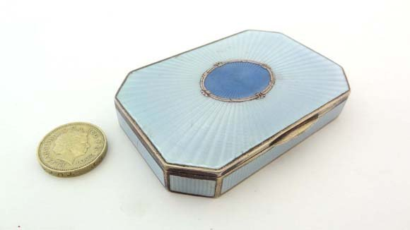 A Continental .800 silver box with blue guilloché ename
