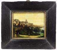 A late 18thC /19thC Continental School Reverse Glass