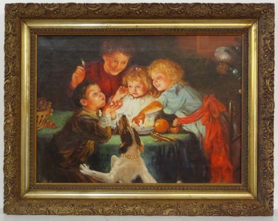 XIX Chiaroscuro School Oil on canvas Children and dog