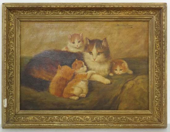 Follower of Heriette Ronner, Feline school  Oil on
