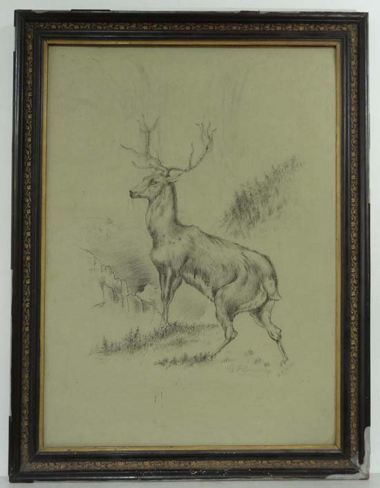 C F Dunwoody after E Landseer 1902 Charcoal on card