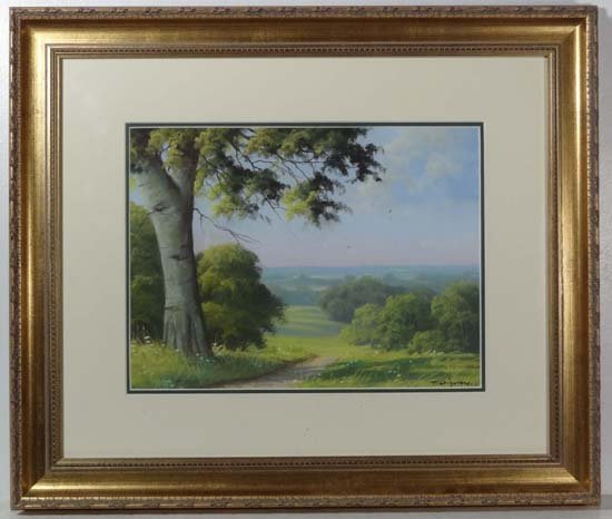 Tom Leighton XX Pastel Country Vista Signed lower right