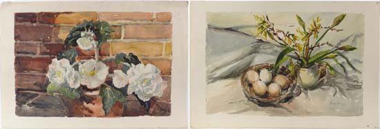 Margaret Harrison 1967 Pair Watercolours Begonias and