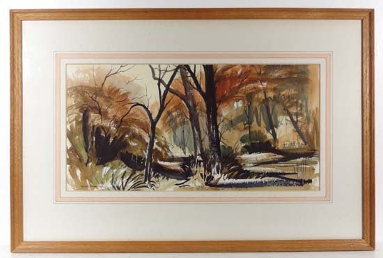 Peter Atkin '69 Pen ink and watercolour ' Autumn Wood '