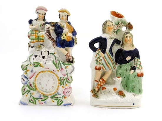 Victorian Staffordshire figure groups comprising a