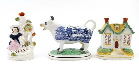 Items of pottery comprising a Victorian Staffordshire