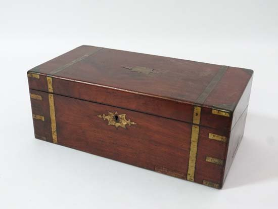A military brass bound mahogany writing slope with 3