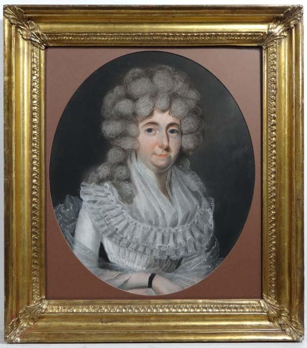XVIII  English School Pastel oval  Portrait of a noble