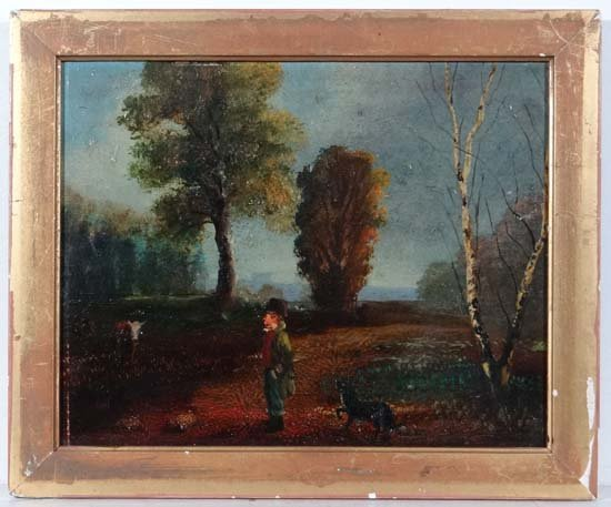 F Walker ARA attrib Oil on artists board Pastoral scene