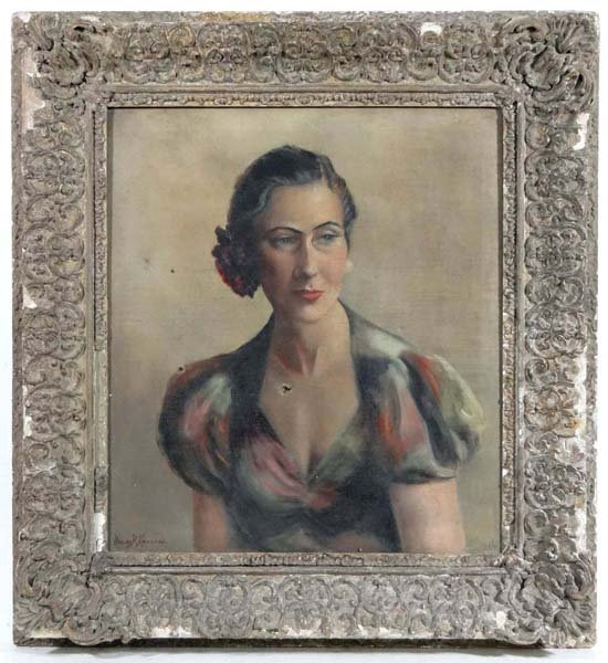 Nancey H Hearsey early XX Oil on canvas Portrait of a