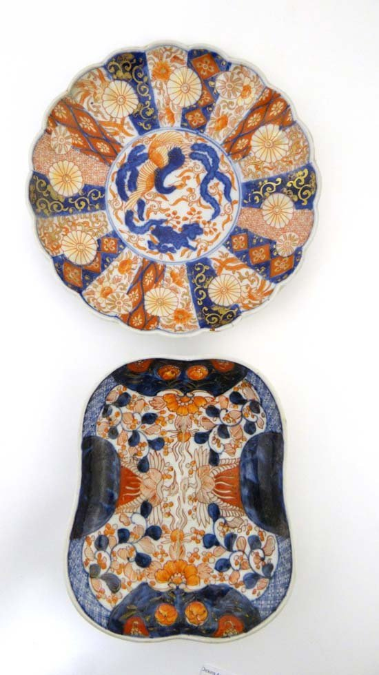 Two Imari dishes decorated in traditional palette
