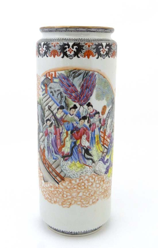 A Chinese porcelain vase  decorated in polychrome with