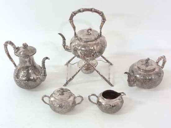 Chinese Export silver : An early 20thC 5 piece Chinese