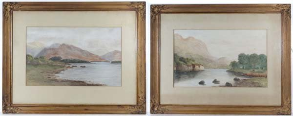 C. 1900 English School A pair of Watercolours River and